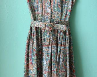 50s Sleeveless Cotton Shirtdress