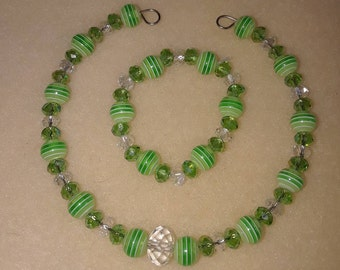 Green Doll Necklace and Bracelet set to fit American Girl Dolls or any 18inch similar sized doll