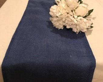 Beau Burlap Table Runner Royal Blue