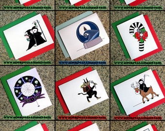 choose your set of 10 alternative goth holiday pagan christmas cards from 35 designs - dark custom personalized handmade seasons greetings