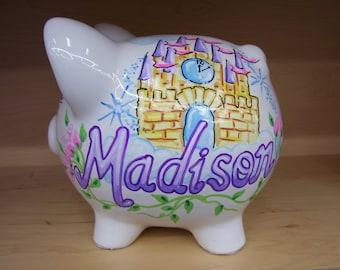 Personalized Piggy Bank Princess Design Castle Crown Handpainted