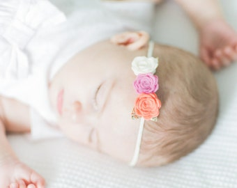 Triple Rose flower hairband for baby and girl! Cream, pink and coral with gold detail. Can be Made in any Colour!