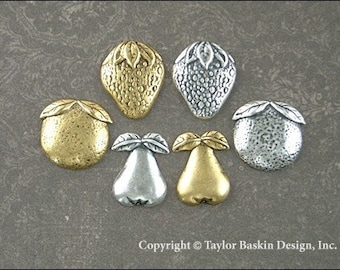Fruit Charms Mixed Lot - Assorted Styles in Antiqued Sterling Silver Plate and Antiqued Gold Plate - 12 Pieces
