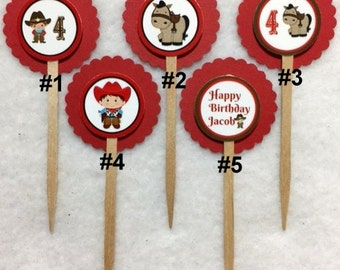 Set Of 12 Personalized Cowboy 4th Birthday Party Cupcake Toppers (Your Choice Of 12)