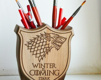 Game of Thrones Game of Thrones Holder, Winter is Coming Gift, Game of Thrones Gift, Holder Wood, holder Carved, Stark House