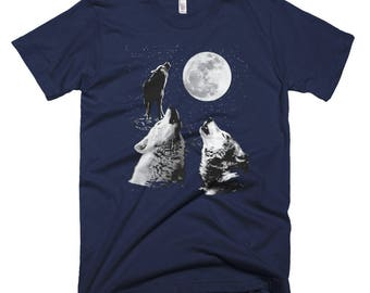 Three Wolf Moon T Shirt // Full Wolf Moon Night Shirt // Wolf Gift Tee // Wolves Howling At The Moon Short-Sleeve T-Shirt