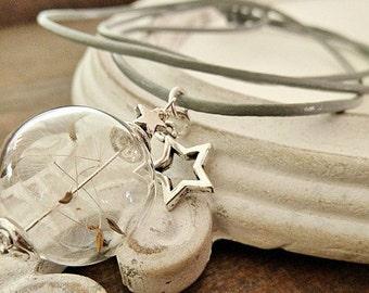 dandelion necklace leather  star