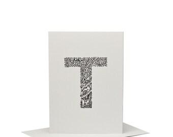 T for Turtle - Letterpress Print
