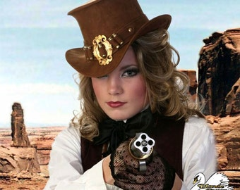 Bulls-Eye Beauty Mini-Top Hat Western Cowgirl Hat