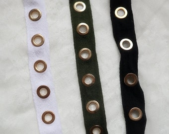 garment sewing accessories Grommet Tape with Nickel Eyelet Twill Tape on webbing trim