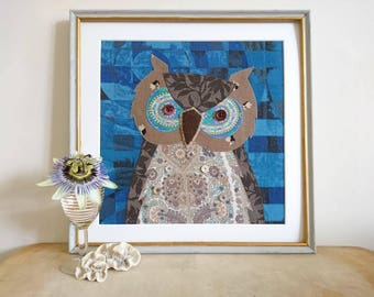 Owl picture - a picture made using applique with recycled fabrics