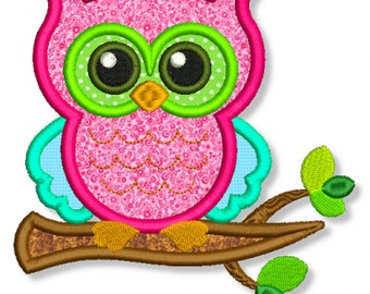 OWL on a BRANCH Applique 4x4 5x7 6x10 7x11 Machine Embroidery Design File INSTANT Download