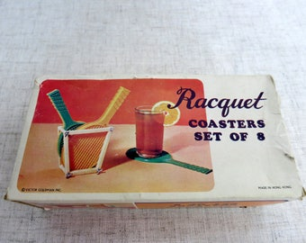 Racquet Coaster Set, Vintage Racquet Coaster Set, Victor Goldman Plastic Racquet Coasters, Tennis Racquet Coasters, Badmitten Coasters -V279