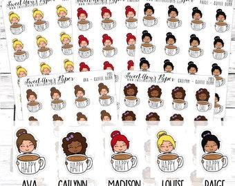 Coffee Mug Planner Stickers - Coffee Planner Stickers - Dunn Inspired Stickers - Character Stickers - 1481 - 1482 - 1483 - 1484 - 1485