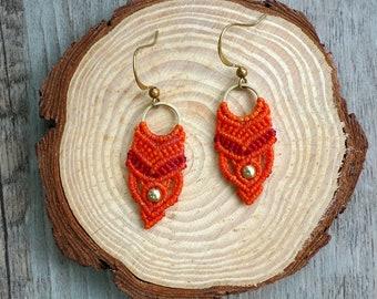 Misssheep - A67- macrame earrings, hoop earrings, macrame jewelry with brass beads