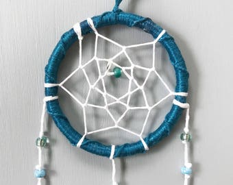 """2"""" Teal, White, and Turquoise Mini Dream Catcher - gift for her, Valentine's Day gift"""