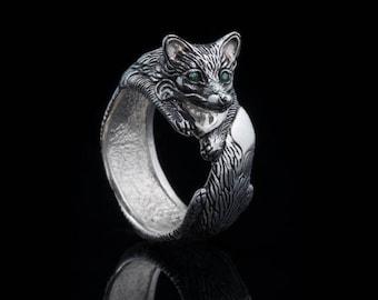Fox Ring, sterling silver, handmade ... fox tail, nature ring, fox jewelry, vixen