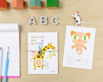 ABC Block Zoofufu Wall Cards | Nursery decor, Kids gift, Animal nursery wall art, Baby shower gift, Kids decor, Alphabet art, Flash cards