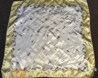 Vintage Gold and White Flowered Scarf