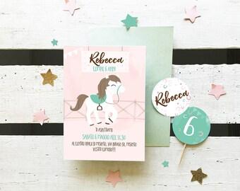 Printable Unicorn birthday invitation  - Fully customizable card with rainbow and stars, sorbet colors