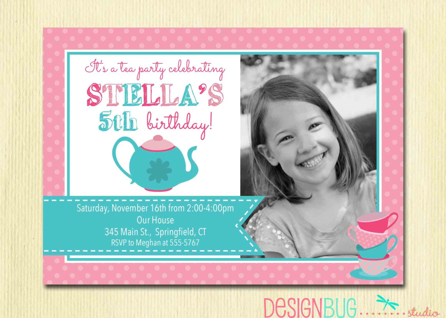 Girl S Tea Party Birthday Invitation Teacups And Teapot