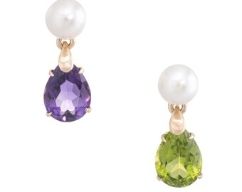 Mismatched Peridot Amethyst Gemstone Earrings Vintage 14k Yellow Gold Pearl Drop
