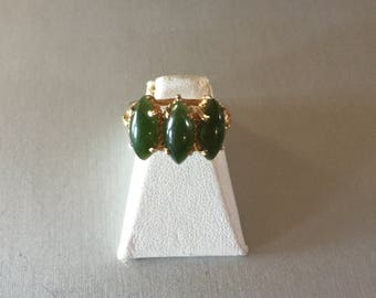 Dark Jade 3 stone 10K Yellow Gold Ring