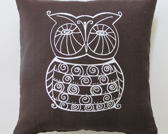 Pillow Cover - Owl - 16 x 16 inches - Choose your fabric and ink color - Accent Pillow