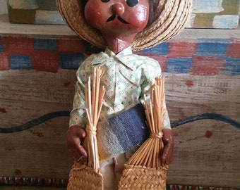 Vintage Mexican male doll with serape and sombrero