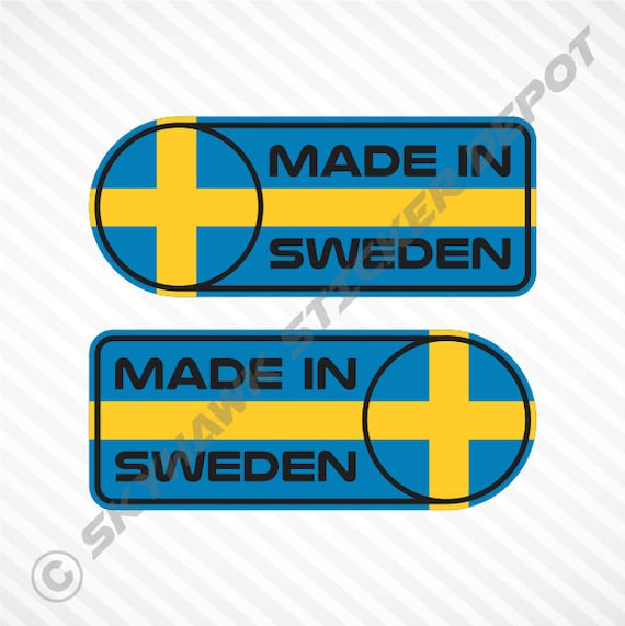 Made in sweden car sticker set vinyl decal swedish flag sticker self adhesive car decal for saab volvo