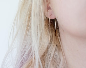 Sterling Silver Threader Earrings, Gift for Her, Silver Earrings, Threader Earrings, Hoop Earrings, Everyday Earrings, Minimalist Earrings
