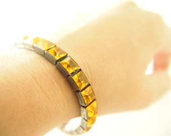 Yellow Channel Crystal Bracelet - Sterling Silver - H&SO - 1920s - Vintage