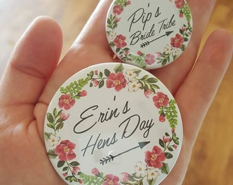 Personalised Tribal Floral Hens Party Badge