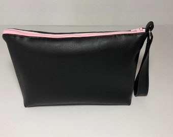 Small Evening Clutch, Elegant and Super Femenine Bag for anyone to Enjoy. Handle and Metal Ring for Easy Carry Anywhere, Pink Zipper