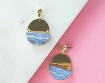 Gemstone Statement Earrings, Blue Chalcedony Half Moon Earrings, Gemstone Earrings, Bold Earrings, Modern Statement Earrings, Gold Earrings