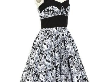 Sugar Skull Dress Gothic Dress Halloween Dress Day Of The Dead Rockabilly Dress Pin Up Dress Psychobilly Dress Lolita Dress Steampunk Dress