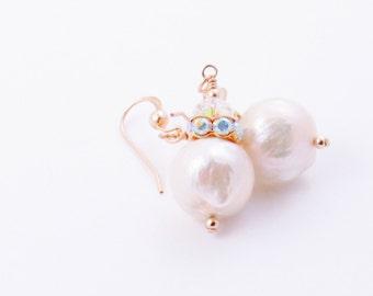 Kasumi Pearl Dangle Earrings Briolette Crystal Earrings Ivory Kasumi Pearl
