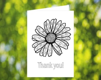 Flower Thank You Card: Printable Thank You Card - Flower Coloring Card - Coloring Card - Zentangle Flower Card - Printable Flower Card