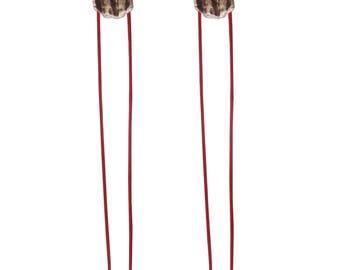 Long  silver earrings,silver nugget,contemporary earrings,cord earrings,designer earrings,red earrings,black earrings