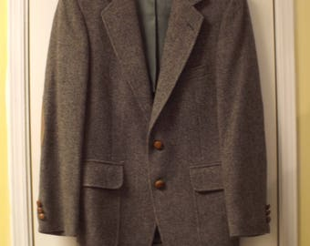 Mens Blazer 1980s Wool Leather Buttons Patches on Elbows Men's Vintage Preppy Trendy Hipster Winter Fashion
