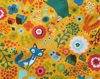 Japanese Cotton Print Fabric, Cosmo Textile, 1 One Yard, Kawaii Nordic Style Animal , Yellow, Owl, Fox, Bear, House, Flower Design, jf01