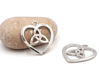 10 charms heart knot Celtic silver 30mm
