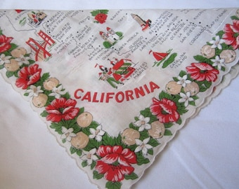 Vintage CALIFORNIA  State Handkerchief White Background 12 Inch Square Nice Condition Start your Collection Today!