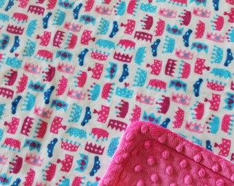 Minky Blanket Multi Color Princess Crown Print Minky with Hot Pink Dimple Dot Backing - perfect blanket for baby or toddler stroller blanket