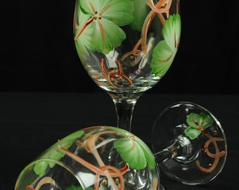 Hand Painted Large Wine Glass / Shamrocks On Clear Glass
