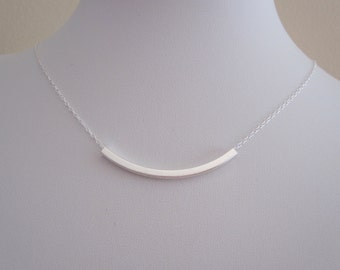 Square curved bar sterling silver necklace, simple, everyday, minimalistic jewelry