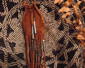 Leather Fringe Pouch Necklace Medicine Bag Crystal Holder Southwest