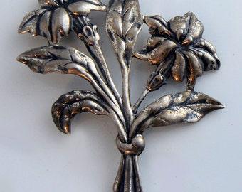 Vintage Danecraft Silver Flower Bouquet  Unique vintage, antique, costume and estate jewelry.