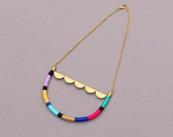 Colorful Statement Necklace, Boho Brass Bib Necklace