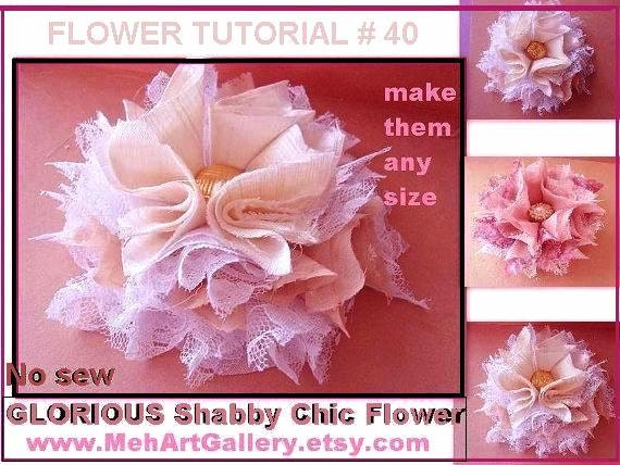 Items similar to Patterns, sewing, No Sew Fabric Flower, Tutorial ...